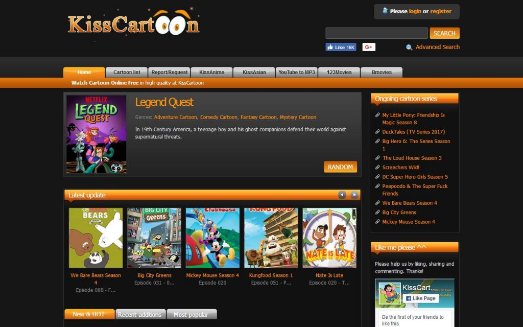 Features Of KissCartoon Website